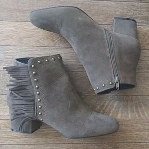 Olive Green Suede Ankle Boots